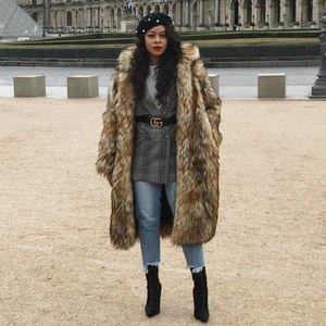 Hooded faux fur long coat